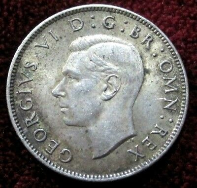1943 Great Britain Florin, Two Shillings KM# 855 -Silver Coin **DETAILS/TONING**