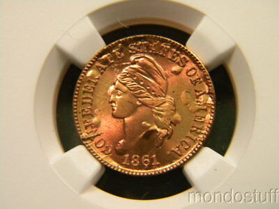 Outstanding Confederate Cent Bronze Bashlow Restrike NGC MS66 RB