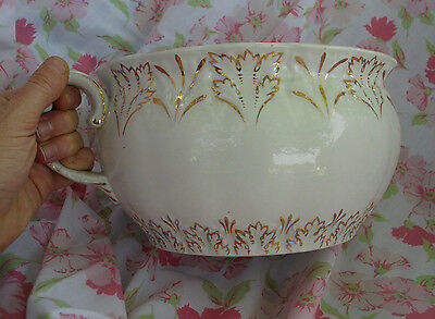 Late 1800s Early 1900s Antique Porcelain Gold Gilted Chamber Pot Ceramic Potty