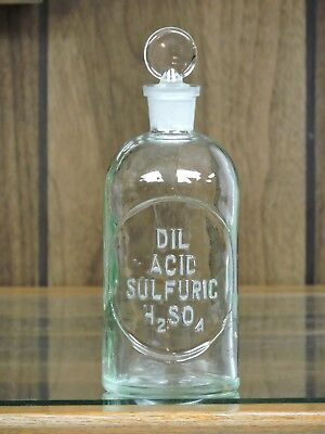 Dil Acid Sulfuric H2So4 ,apothecary, Laboratory, Chemical, Ground Stopper Bottle