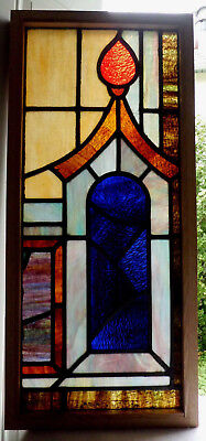 Antique Vtg Church Stained Glass Window Architectural Salvage Pagoda W85