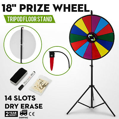 """18"""" Color Prize Wheel Folding Tripod Floor Stand Fortune Dry Erase Spinnig Game"""