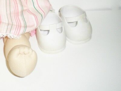 "Genuine Cabbage Patch Kids brand shoes, white strapped style for 16"" doll"
