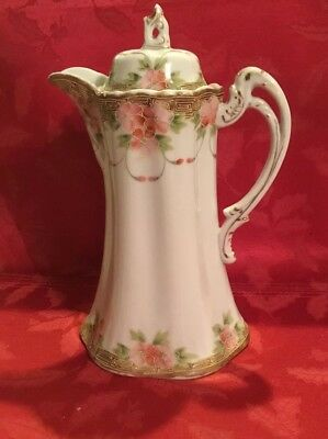 NIPPON HAND PAINTED, COFFEE CHOCOLATE HAND DECORATED POT, pink roses, beautiful