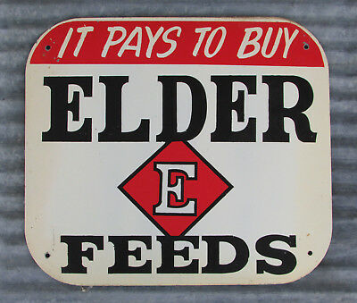 Elder Feeds Steel Sign Vintage Metal Farm Ranch Seed Country Store Primitive Old