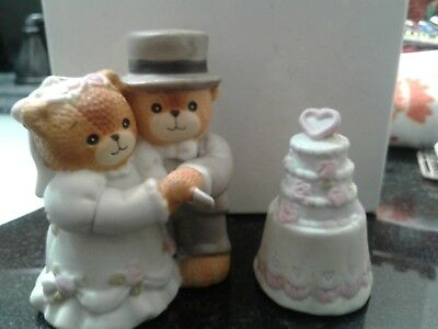 Enesco Lucy & Me Bride and Groom Cutting Wedding Cake Figures Figurines in box