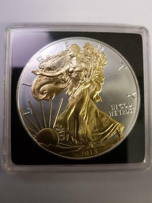 2015 1oz Silver American Eagle (Gilded in sealed capsule)