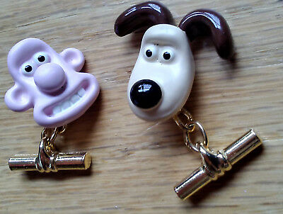 Rare Enamel Wallace and Gromit Cufflinks Vintage Cartoon Gifts