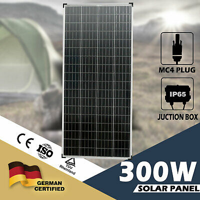 300W Solar Panel 12V Mono Caravan Camping Battery Charge Power MC4 Plug Included