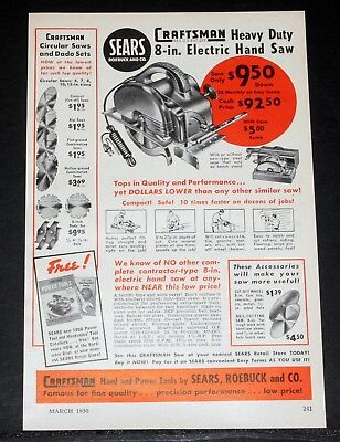 1950 OLD MAGAZINE Print Ad, Sears Craftsman, Heavy Duty 8-In  Electric Hand  Saw!