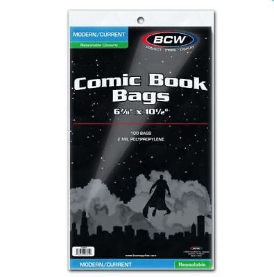 (100) BCW Current Modern Size Resealable Comic Book Bags Acid Free