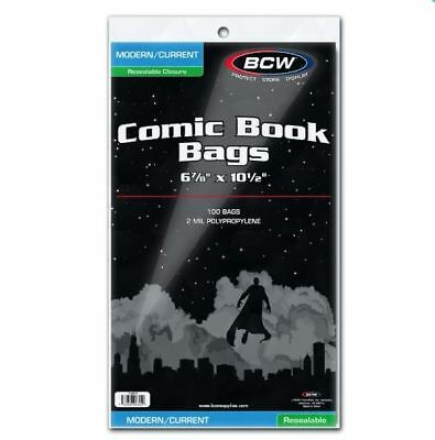 (200) BCW Current Modern Size Resealable Comic Book Bags Acid Free