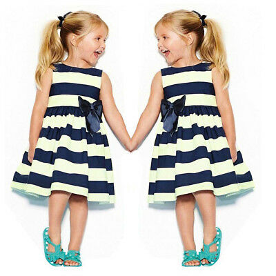 Toddler Kids Baby Girl Summer Sleeveless Dress Bow Princess Pageant Party Dressy