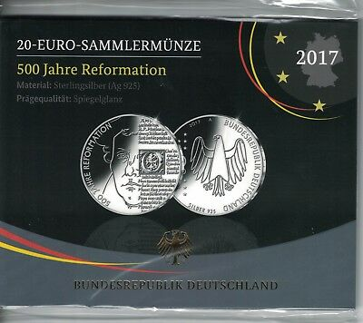 20 Euro BRD 2017,500 Jahre Reformation , Silber PP/Proof,OVP  (6139)