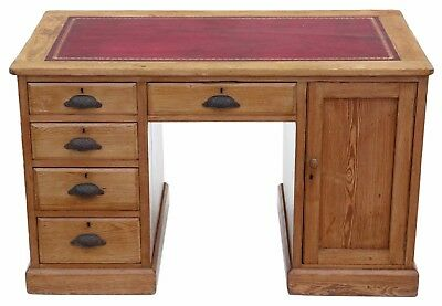 Antique Victorian pine twin pedestal desk or writing table C1900