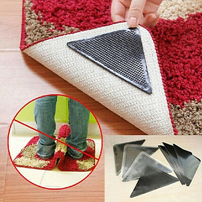 4 Set Reusable Rug Carpet Mat Grippers Anti Slip Silicone Grip Skid Tape Eyeful