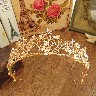 Women Flower Rhinestone Bridal Tiaras Crown Wedding Diadem Hair Gold Accessories