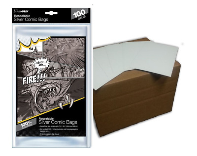 (100) Ultra Pro Silver Age Resealable Comic Bags Plus Acid Free Backing Boards