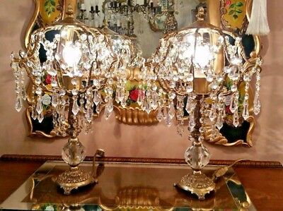 Vintage Brass and Crystal Lace Table Lamp Pair