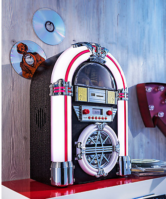 Jukebox Stereo Anlage Mini Juke Box USB SD Cd Player Farbwechsel AM/FM-Radio