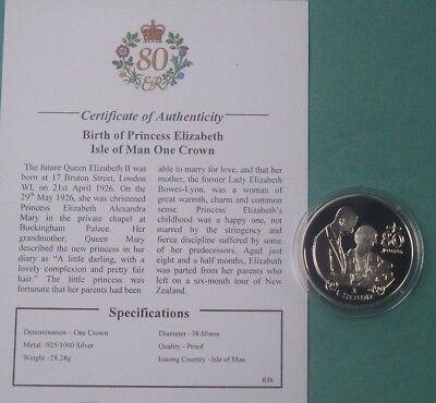 2006 Isle Of Man Silver Proof Crown Coin Queens 80Th Birthday & Cert [07]