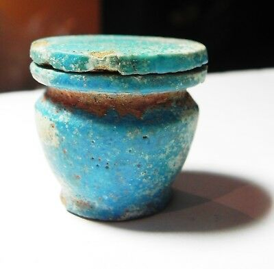 Zurqieh -Asw308-  Ancient Egypt, Faience Kuhl Vessel. New Kingdom 1400 B.c