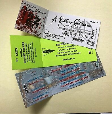 Custom printed event tickets numbered with stub 1000 / $28 free shipping