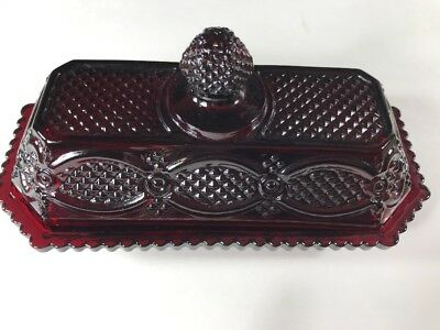 1876 Cape Cod Avon Ruby Red Glass Butter Dish