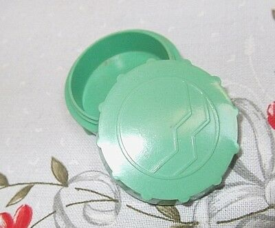 Pretty Vintage Cream/solid Perfume Pot; Green Bakelite-Screw-Top Lid [Empty]
