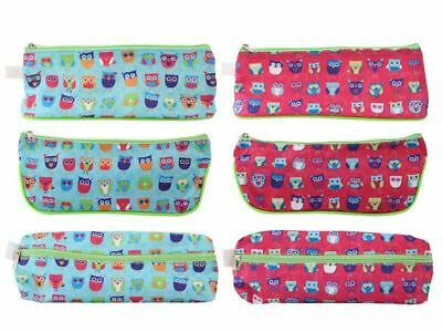 JOB LOT of 6 12 18 24 PENCIL CASES with OWL DESIGN 2 Assorted Wholesale Bulk Buy