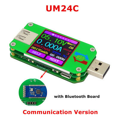 Rui UM24C USB2.0 Color Tester Voltage Ammeter Thermometer Power Battery Capacity