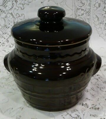 Vintage Marcrest Stoneware Oven Proof Bean Pot Lidded Casserole Daisies Dots USA