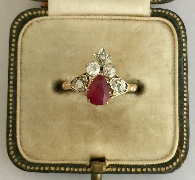 A Stunning 1ct Ruby & 1.5ct Diamond Cluster Ring Circa 1800's