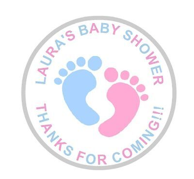 24 Personalised  Baby Shower Stickers Labels Pink And Blue round