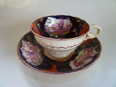Antique Gaudy Welsh Chinoiserie Cup And Saucer