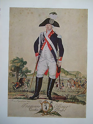 Vintage Military Print - Dragoon Officer Basle Contingent Switzerland C 1793