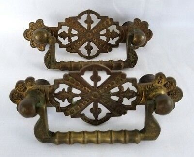 Pair Antique Brass Victorian Eastlake Drawer Pull Ornate Bail Furniture Hardware