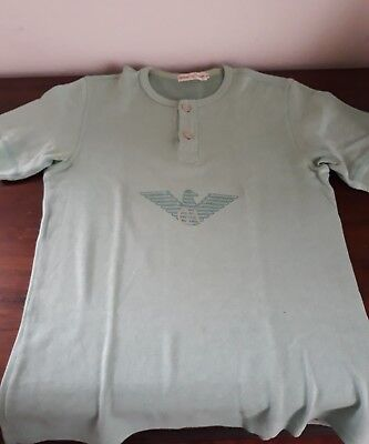 t-shirt armani vintage unisex in cotone color menta bottoni logo overbranding
