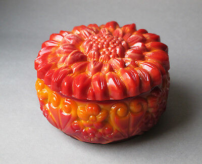 Antique Czech Bohemian glass Art Nouveau orange dresser jar