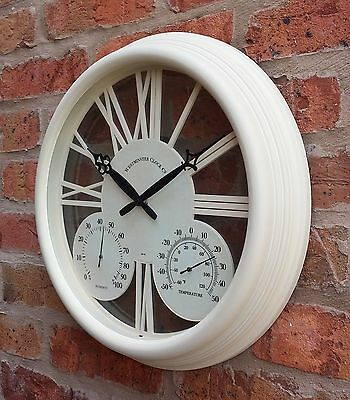 White Vintage Shabby Chic Garden Wall Clock Thermometer Outdoor decoration round