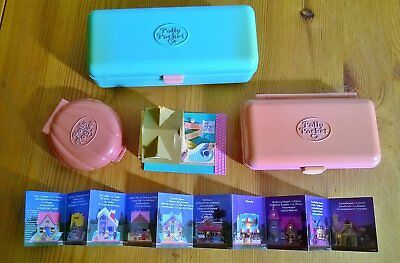 Polly Pocket 4 cofanetti + figure people + accessori - vintage anni 80 -
