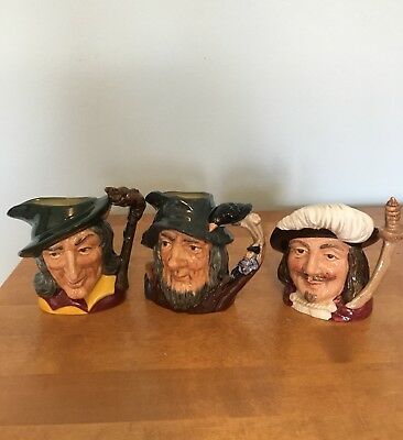 Collection 3 Royal Dalton Vintage Small Toby Jugs excellent condition
