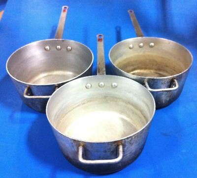 Lot of 3 Commercial Royal Industries 7.5 Quart Aluminum Sauce Pans RSP-7