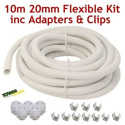 Tower Electrical Conduit Cable Pipe White 20mm 10m Polypropylene PVC Corrugated