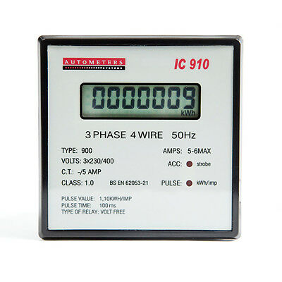 Autometers 7 Digit LCD 3 Phase 4 Wire Programmable Electric kWh Meter IC 910 New