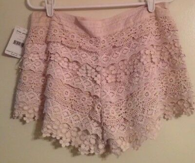 NWT Free People Womens 10 Handmade Floral Lace Crochet Shorts Cream Festival