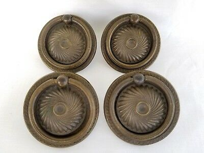 4 Ornate Antique Brass Ring Drop Drawer Pull Reclaimed Furniture Hardware Patina