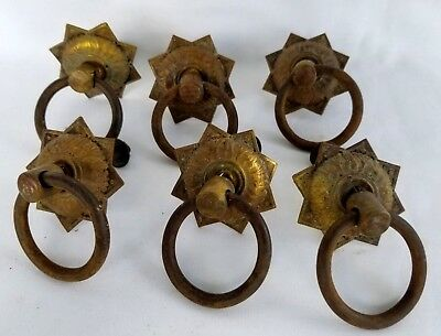 6 Antique Iron & Brass Ring Drawer Pull Ornate Back Reclaimed Hardware Furniture