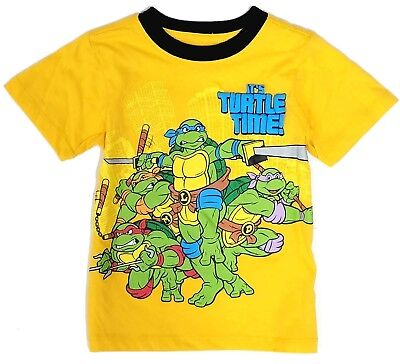 T Shirt Tee Toddler Boys Baby Short Sleeve Yellow Top Ninja Turtles 2T 3T 4T s
