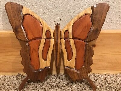 Vintage Hand Made Inlaid Wood Marquetry Butterfly 2